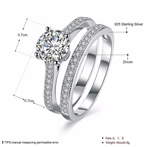 1.25 Carat Round Cubic Zirconia Sterling Silver Ring Set - HNS Studio