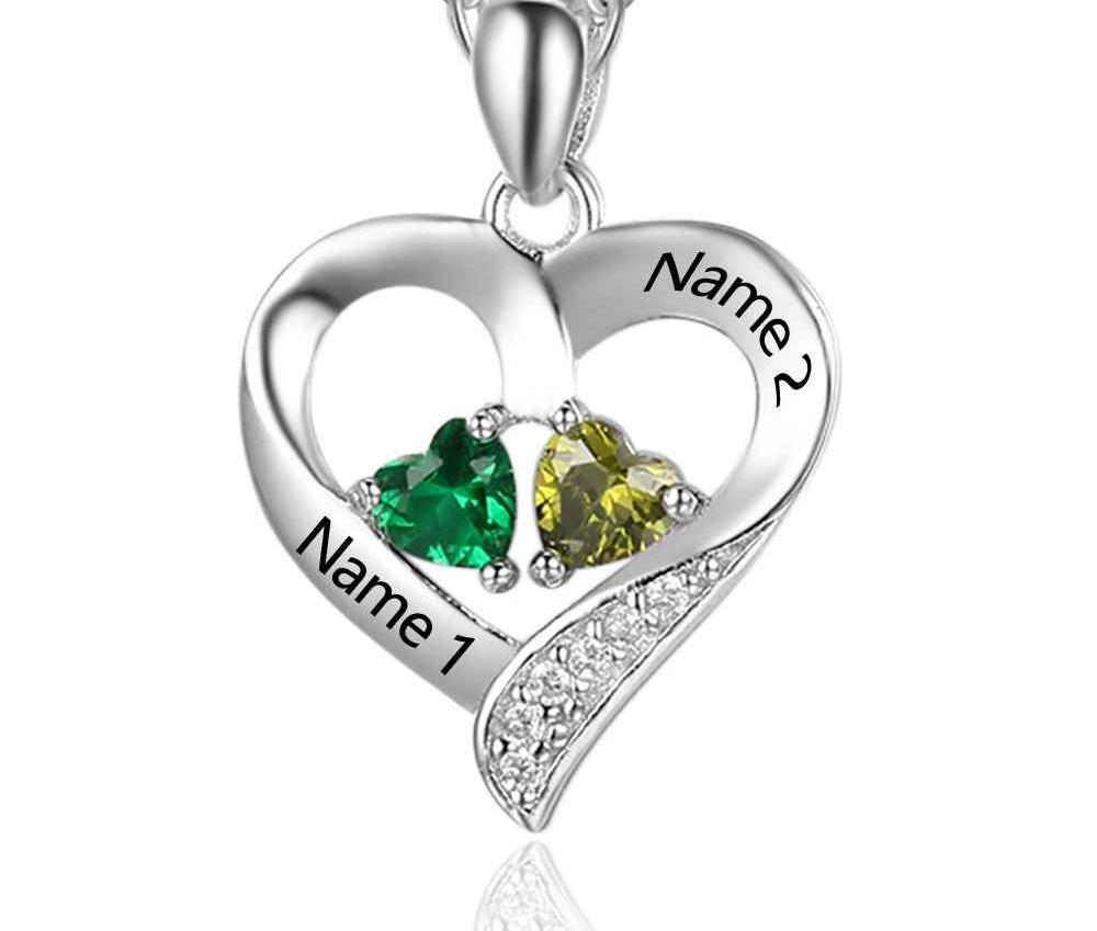 Engravable Names Necklace with Heart Birthstones - HNS Studio