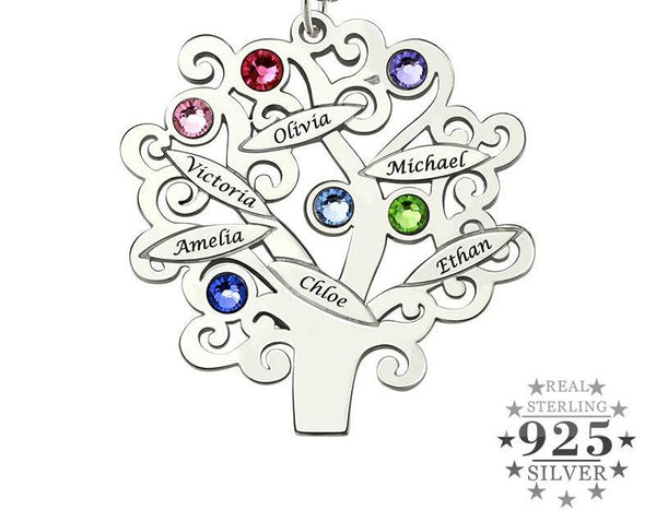Family Necklace with Names and Birthstones - HNS Studio