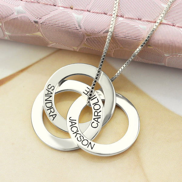 Sterling Silver Personalized Russian Interlocking Circles Necklace - HNS Studio
