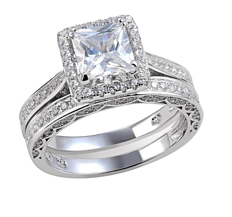Princess Cut Sterling Silver Wedding Band Engagement Ring Set - HNS Studio