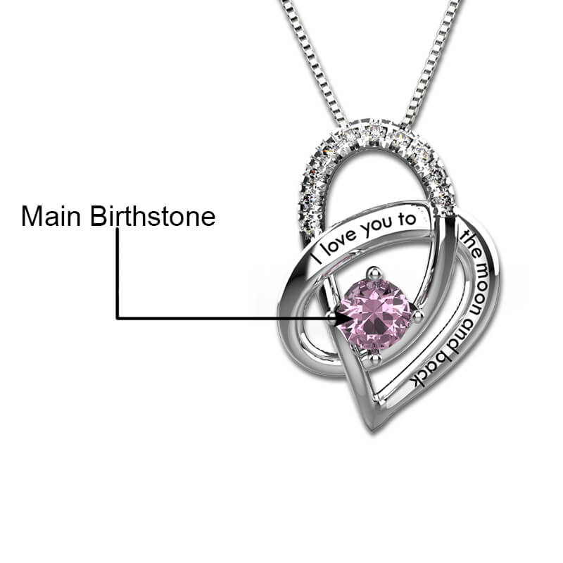 3f0356c767 I Love You To The Moon And Back Heart Necklace Sterling Silver – HNS ...