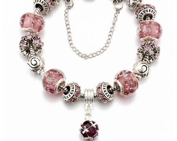 Silver Plated Charm Bracelets with Pink Charms and Beads - HNS Studio
