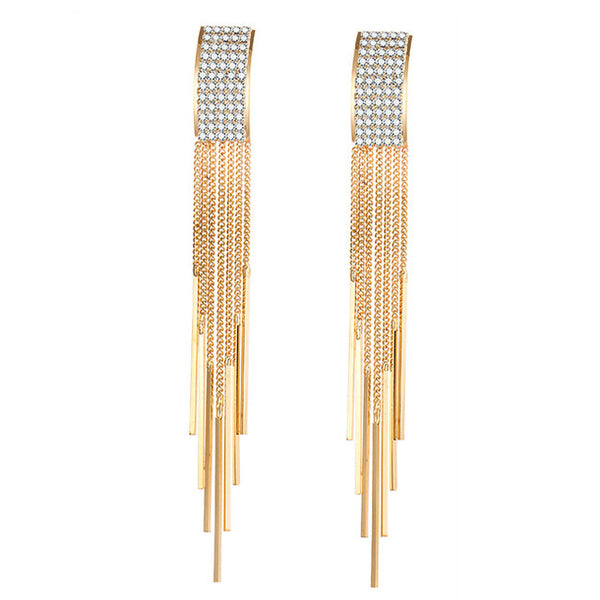 Gold Long Crystal Tassel Earrings - HNS Studio