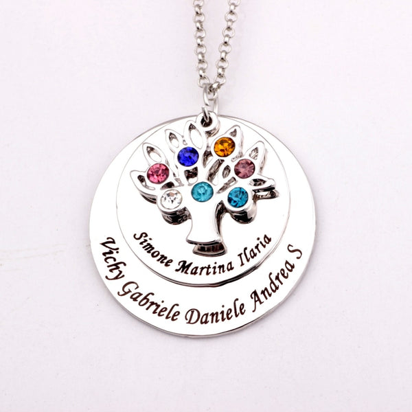 Family Tree Name Necklace with Birthstones - HNS Studio