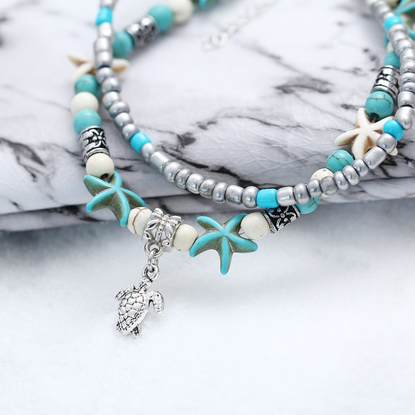 Multilayer Starfish and Turtle charm Boho anklet - HNS Studio