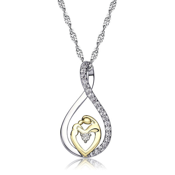 Mother and Child Love Pendant Necklace with Fine Crystal - HNS Studio