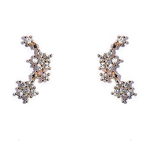 Gold and Silver Flower Tiny Climber Earrings - HNS Studio