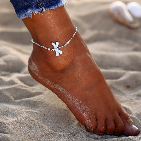 Silver Plated  Dragonfly Anklet - HNS Studio