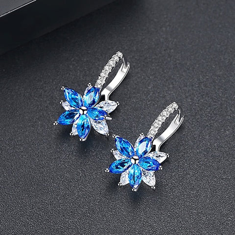 Flower Clear Crystal Zirconia Earrings - HNS Studio