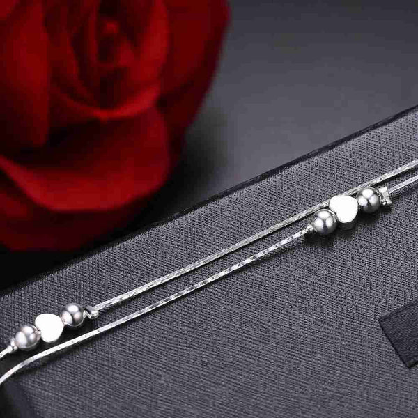 Women Sterling Silver Multilayer Heart Anklet