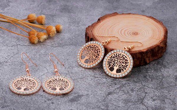 Tree of life Earrings with Rhinestones - HNS Studio