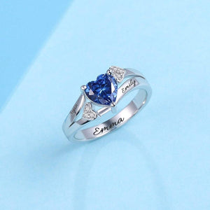 Sterling Silver Personalized Engraved Heart Birthstone Ring