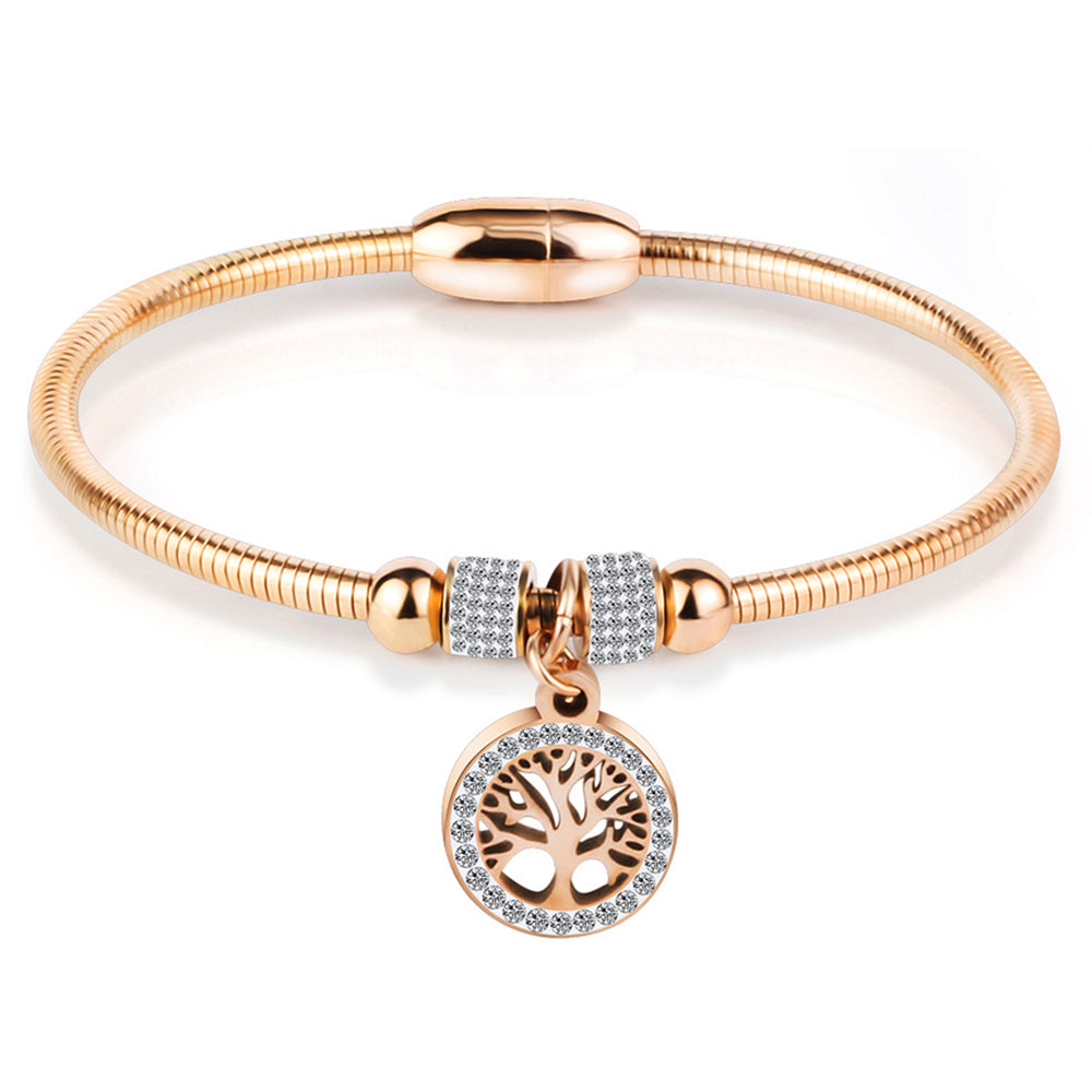 Stainless Steel Tree of Life Charm Bangle Bracelet