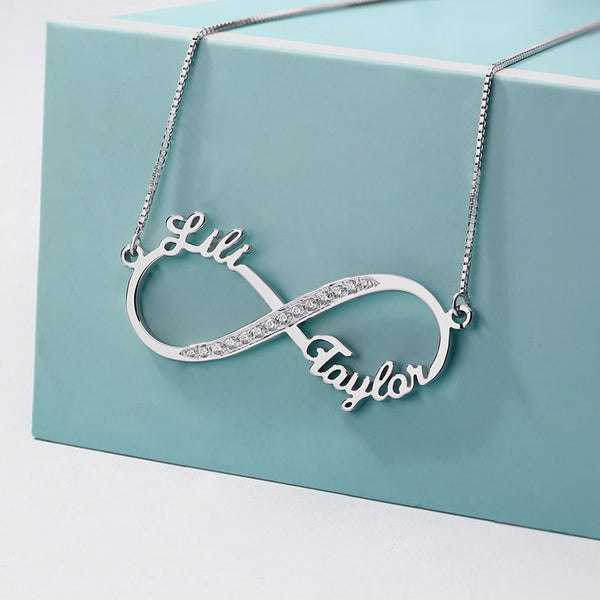 Sterling Silver Infinity Necklace 2 Names - HNS Studio