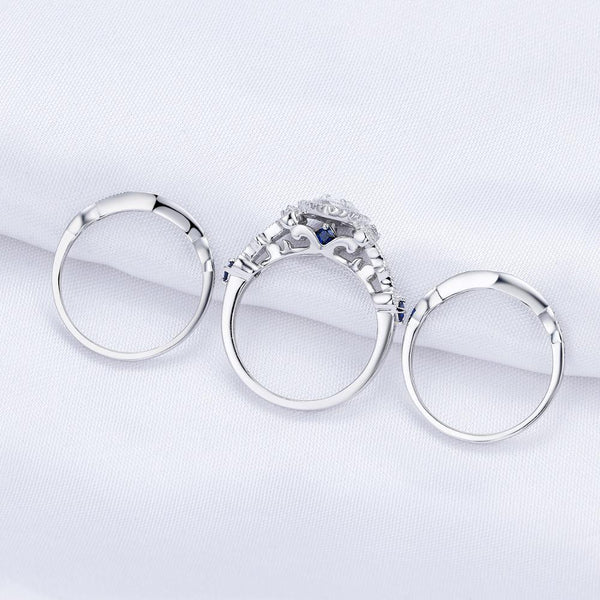 3 Pieces Pear Cut Sterling Silver Wedding Ring Set - HNS Studio