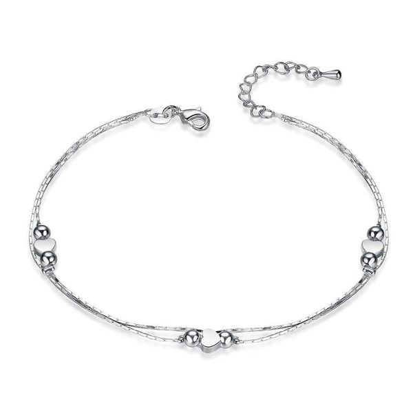 Women Sterling Silver Multilayer Heart Anklet - HNS Studio