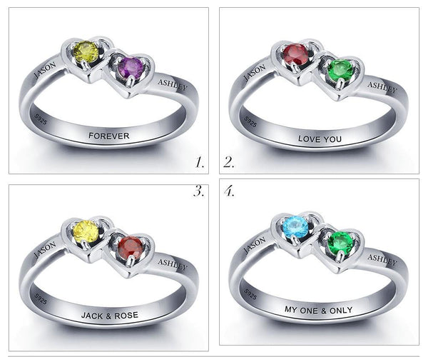 Engraved Birthstone Ring - Double Heart - Sterling Silver - HNS Studio