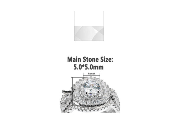 2.1Ct AAA CZ Three-Piece Wedding Set in Sterling Silver - HNS Studio
