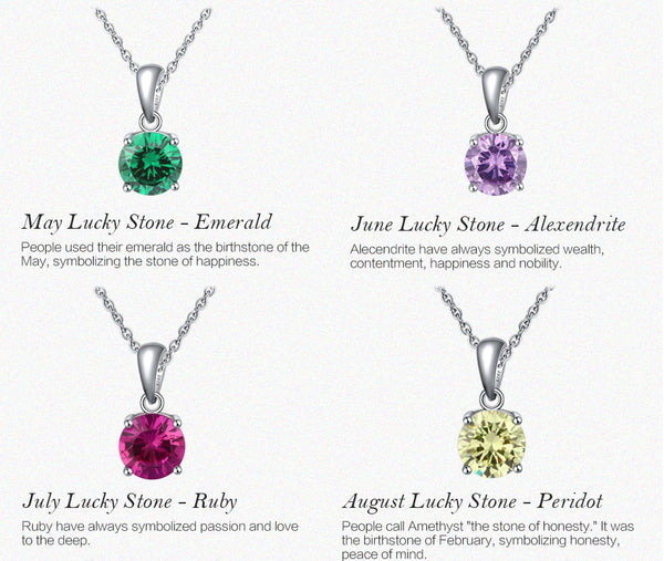 Sterling Silver Birthstone Pendant Necklace - HNS Studio