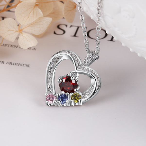 Family Birthstones Sterling Silver Heart Necklace - HNS Studio