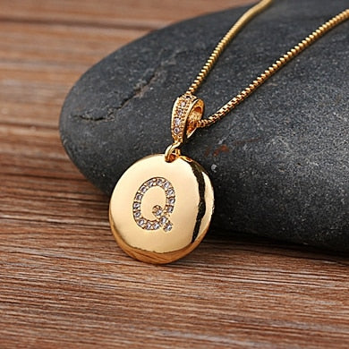 Charmed Initial Disc Pendant Necklace - HNS Studio