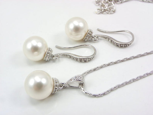 Pearl with Crystal Bridesmaid Jewelry Set