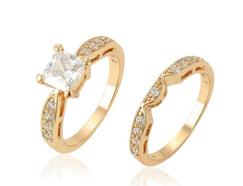 Gold  Wedding Engagement Ring and Band set Size 10 - HNS Studio