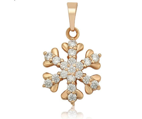 Gold plated Snowflake Pendant Necklace - HNS Studio