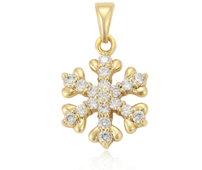 14K Gold plated Snowflake Pendant Necklace - HNS Studio