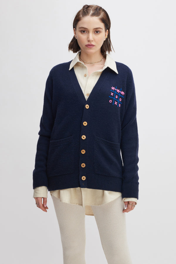 Women's Tic-Tac-Toe Score Embroidered Cardigan