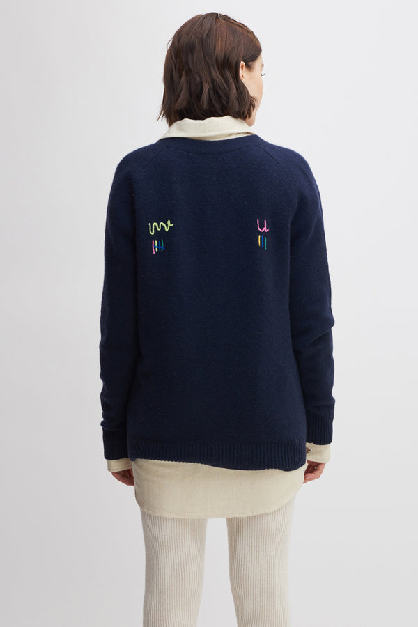Tic-Tac-Toe Score Embroidered Cardigan