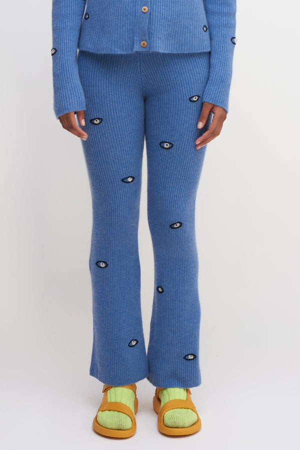 Eyes Ribbed Flared Pants