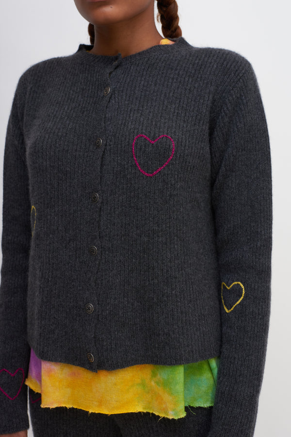 Hearts Medium Ribbed Cropped Cardigan
