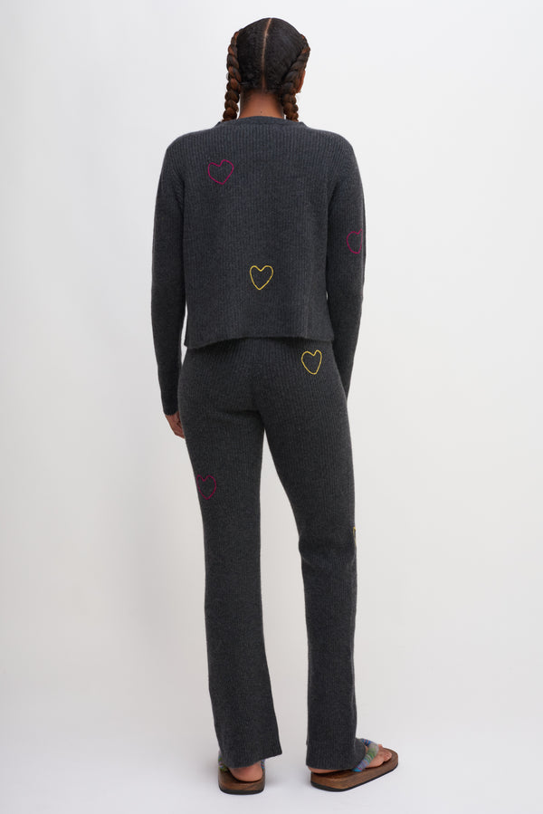 Hearts Medium Ribbed Flared Pants