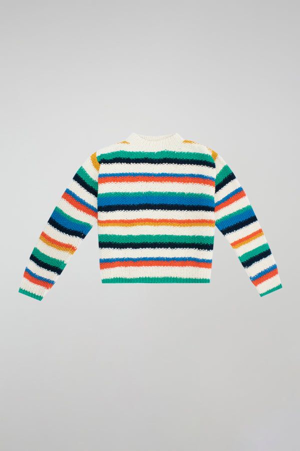 Hand-Knit Varied Stripe Crew