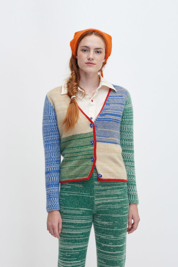 Ro Colorblock Crop Cardigan