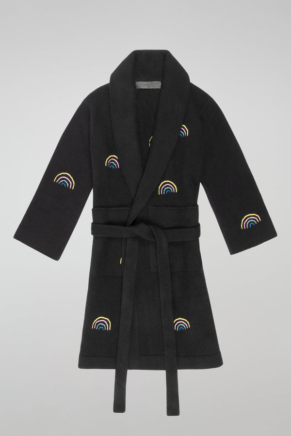 Embroidered Robe with Belt and Pockets