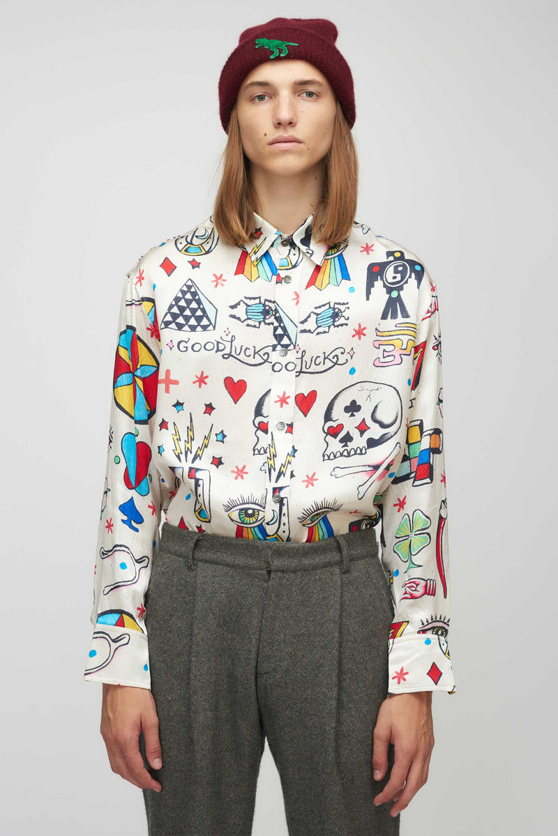 Betony Silk Printed Button Down Shirt Long Sleeve