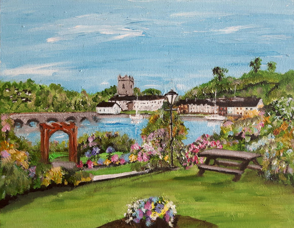 View from the Lakeside Hotel Killaloe .Original Acrylic painting .(14 x 11 ins)