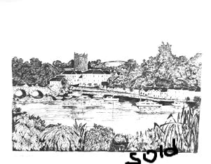 Original black and White drawing  - Killaloe on Lough Derg