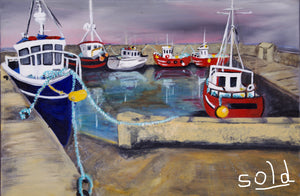 Saleen Harbour -Co Mayo. Original Acrylic painting.