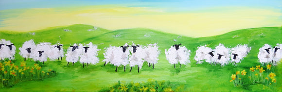 Original Acrylics on Canvas - Springtime Sheep 36 x 12 ins SOLD