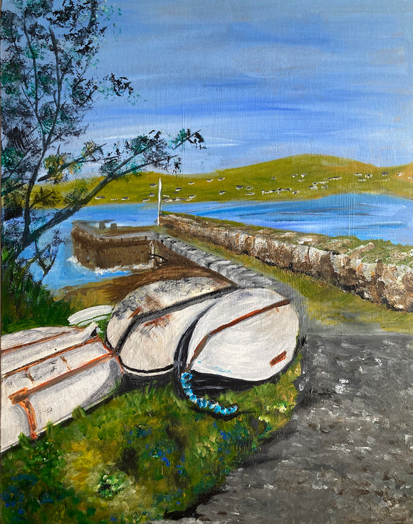Original Acrylic Painting - Cuan Harbour , Ventry Bay Kerry