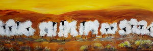 "Sheep with Attitude Series Print -"" Autumn Sheep "" 18x6ins Special offer"