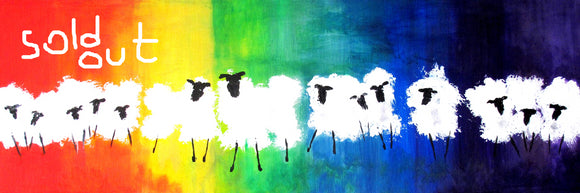 Sheep with Attitude canvas prints 18 x 6 ins End of line sale.