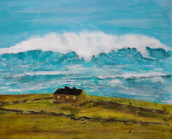 Original Acrylic Painting - Cottage by the sea