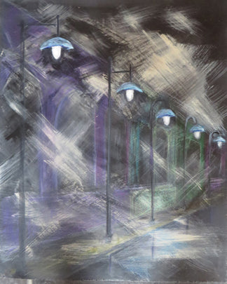 Original Acrylic Painting (with mixed media) - Streetlights 1 and 2 SOLD
