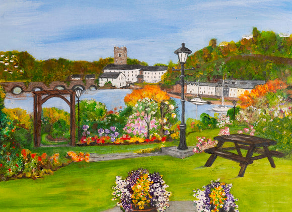 Original Acrylic painting 20 x 16 ins - VIEW FROM THE LAKESIDE