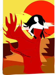 "Thinking Art. Mounted Print ""Firewoman"" by Val Bishop"